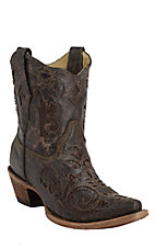 Corral Chocolate w/Chocolate Lizard Inlay Short Top Snip Toe Western Boots