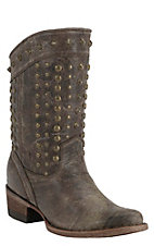 Corral Distressed Brown w/Bronze Studs Round Toe Western Fashion Boots
