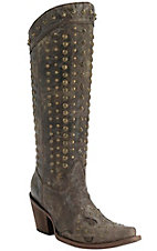 Corral Women's Chocolate Crater with Wingtip & Brass Studs Snip Toe Western Boots