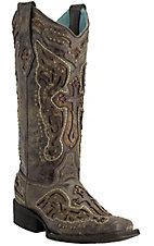 Corral Women's Distressed Chocolate with Antique Saddle Inlayed Winged Cross Square Toe Western Boots