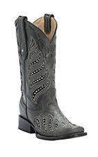 Corral Women's Distressed Black with Crystals & Stud Inlay Square Toe Western Boots