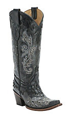 Corral Women's Distressed Black with Studs & Crystals Snip Toe Western Boot