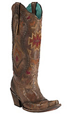 Corral Women's Vintage Cognac Crater with Aztec Embroidery Snip Toe Tall Western Boots