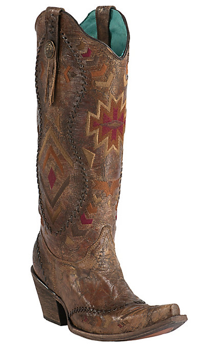 71663b99656 Corral Crater Women's Vintage Cognac with Aztec Embroidery Snip Toe Tall  Western Boots