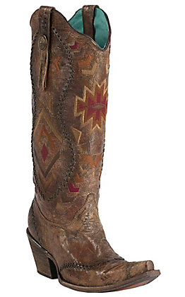 Corral Crater Women's Vintage Cognac with Aztec Embroidery Snip Toe Tall Western Boots