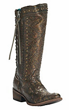 Corral Women's Chocolate, Bronze & Gold with Aztec Embroidery & Studs Round Toe Western Boot