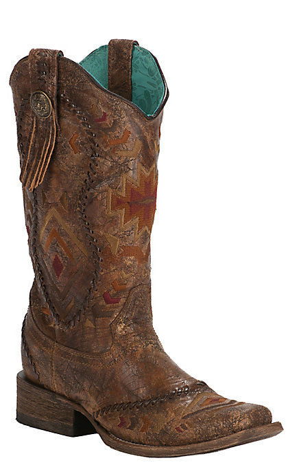 fbf261d320d Corral Women's Vintage Cognac with Aztec Embroidery Square Toe Western Boots