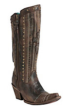Corral Women's Vintage Brown with Crystal Cross Embroidered Top Snip Toe Western Boots