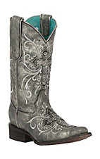 Corral Women's Metallic Grey with Beaded Cross &  Embroidery Square Toe Western Boots