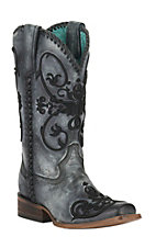 Corral Women's Distressed Black w/ Black Raised Scroll Embroidery Double Welt Square Toe Western Boots