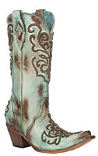 Corral Women's Hand Painted Turquoise w/ Cord Stitching Western Snip Toe Boots