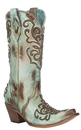 Corral Women's Hand Painted Turquoise with Cord Stitching Western Snip Toe Boots