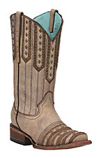 Corral Women's Tan and Brown Studded Western Square Toe Boots