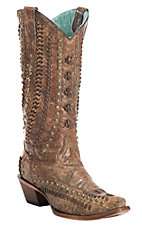 Corral Women's Distressed Cognac and Brown Studded and Woven Snip Toe Western Fashion Boot