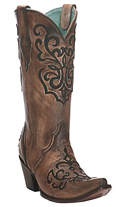 Corral Women's Distressed Brown and Bronze with Black Embroidery Snip Toe Western Boots