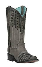 Corral Women's Black and Grey Studded Western Square Toe Boots