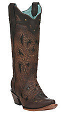 Corral Women's Brown Stud Embellished Snip Toe Western Boot