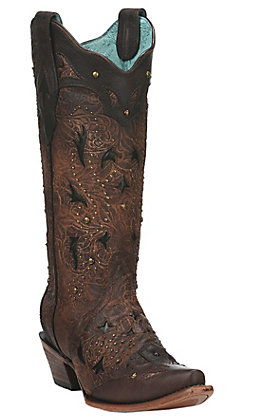 Corral Women's Brown Stud Embellished Snip Toe Western Boot