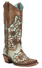 Corral Boot Company Women's Turquoise with Brown Overlay Flowers and Studs Western Snip Toe Boots