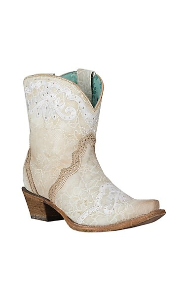 Corral Women\'s Bone Embroidery & Swarovsky Ankle Wedding Snip Toe ...