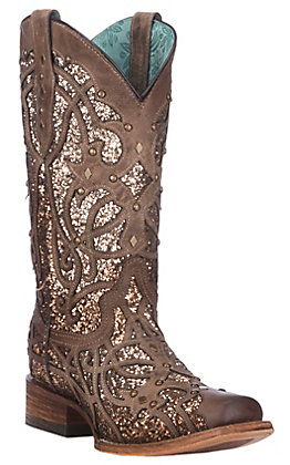 Corral Women's Orix Brown with Glitter Inlay and Studs Western Square Toe Boots