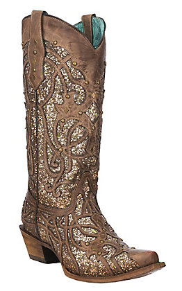 Corral Women's Orix Brown with Glitter Inlay and Studs Snip Toe Western Boot