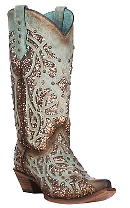 Corral Women's Brown and Burnished Turquoise with Glitter Inlay and Studs Western Snip Toe Boots