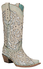 Corral Women's Chameleon Color Changing with Silver Glitter Inlay Snip Toe Western Boots