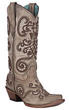 Corral Women's Taupe w/ Brown Embroidery and Studs Western Snip Toe Boots