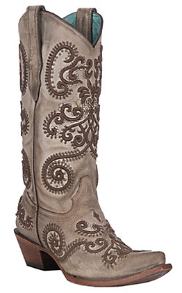 Corral Women's Taupe with Brown Embroidery and Studs Western Snip Toe Boots