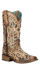 Corral Women's Bone with Multi-Color Inlay & Studs Square Toe Boots