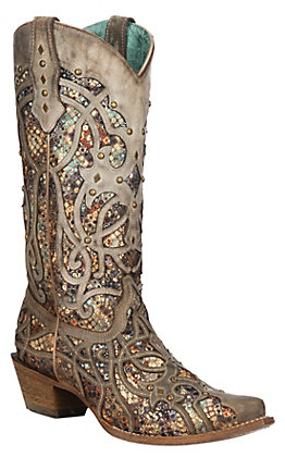 Corral Women's Taupe with Multi-Color Inlay and Studs Snip Toe Western Boot