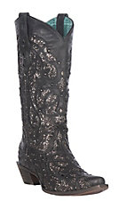 Corral Boot Company Women's Black with Black Glitter Inlay Western Snip Toe Boot
