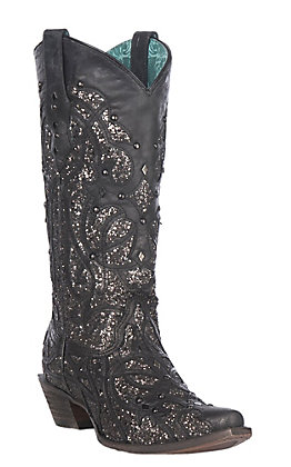 Corral Women's Black with Black Glitter Inlay Snip Toe Western Boot