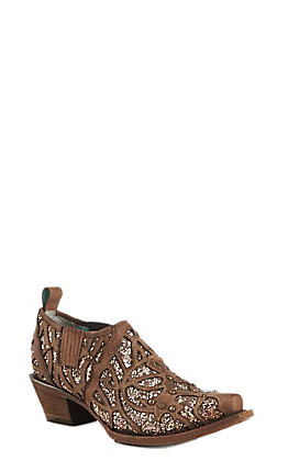 Corral Women's Tobacco Flitter Inlay Snip Toe Bootie