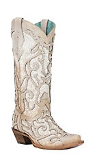Corral Women's Bone with Glitter Inlay & Studs Snip Toe Boots