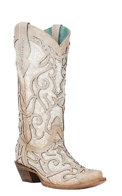 82c58007ab4 Corral Women's Bone with Glitter Inlay and Crystal Studs Snip Toe Boots
