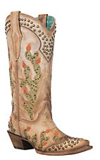 Corral Women's Saddle Brown Nopal Embroidered & Studded Cactus Western Snip Toe Boots