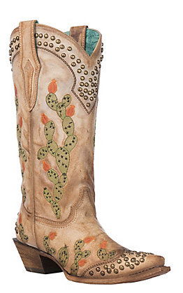 Corral Women's Saddle Brown Nopal Embroidered and Studded Cactus Snip Toe Western Boot