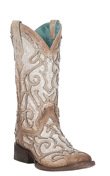 075b3470b3c Corral Women's White Glitter Inlay Square Toe Western Boots