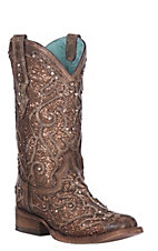 Corral Women's Brown with Bronze Glitter Inlay Square Toe Western Boots
