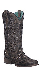Corral Women's Black Glitter Inlay Square Toe Western Boots