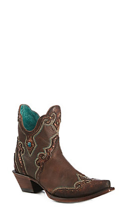 Corral Women's Brown Embroidered and Studded Snip Toe Bootie