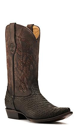 Corral Men's Black Python with Laser-Ingraved Snake Design Snip Toe Exotic Boots