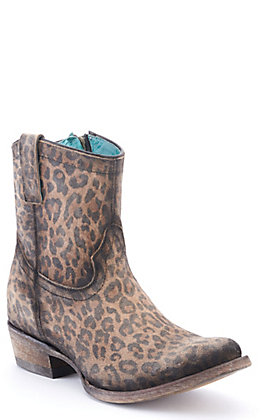 Corral Women's Brown Leopard Print with Zipper Round Toe Booties