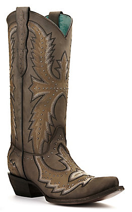 Corral Women's Grey Hand Painted with Embroidery and Studs Snip Toe Western Boots