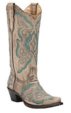 Corral Women's Distressed Taupe with Fancy Turquoise Stitch Snip Toe Western Boots