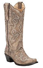 Corral Women's Distressed Taupe with Fancy Chocolate Stitch Snip Toe Western Boots