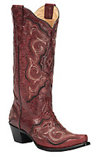 Corral Women's Vintage Red with Fancy Black Stitch Snip Toe Western Boots