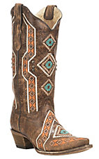 Corral Boot Company Women's Brown with Colorful Aztec Embroidery and Studded Details Western Snip Toe Boots